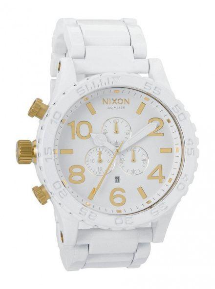 Zegarek Nixon 51-30 Chrono All White Gold - Nixon A0832035