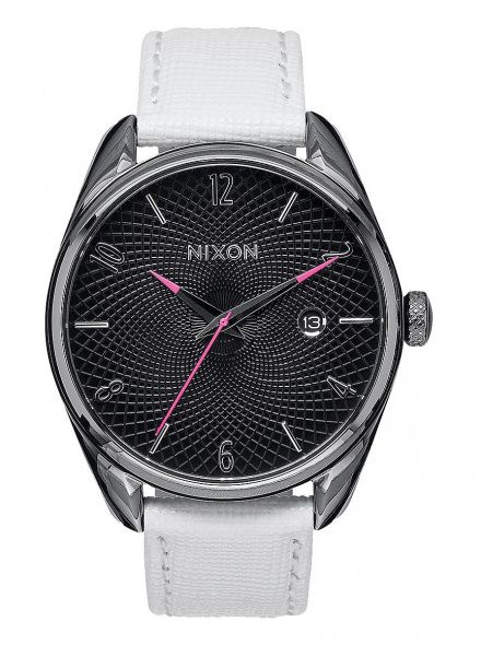 Zegarek Nixon Bullet Leather Gunmetal White - Nixon A4731486