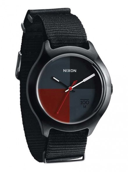 Zegarek Nixon Quad All Black Dark Red Nylon - Nixon A3442167