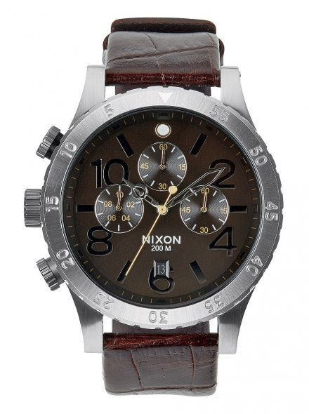 Zegarek Nixon 48-20 Chrono Leather Brown Gator - Nixon A3631887