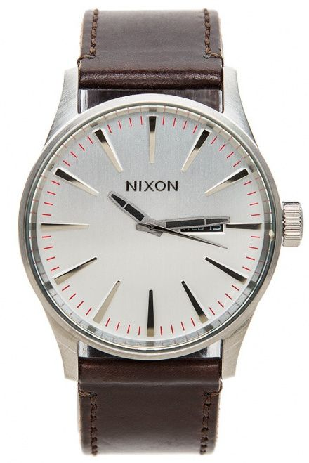 Zegarek Nixon Sentry Leather Silver Brown - Nixon A1052113