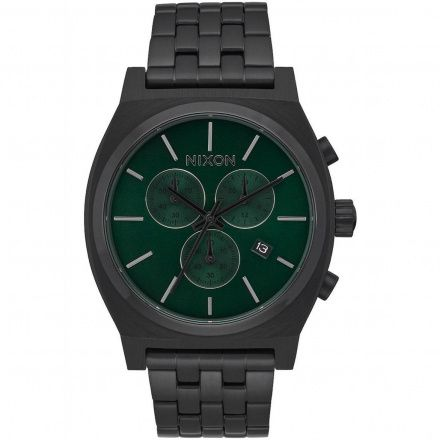 Zegarek Nixon Time Teller Chrono All Black Green Sunray Nixon A9722399