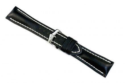 Czarny pasek skórzany 24 mm HIRSCH Heavy Calf 01475050-2-24 (L)