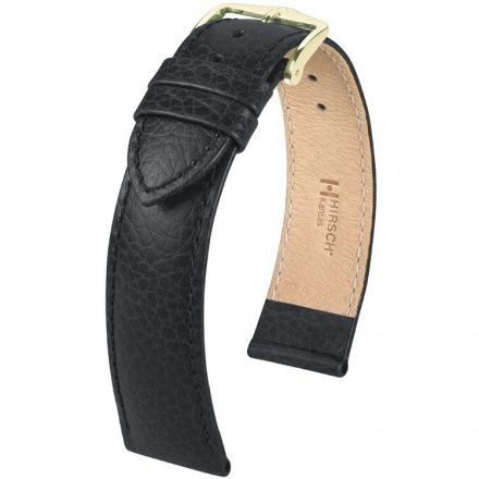 Czarny pasek skórzany 12 mm HIRSCH Kansas 01502150-1-12 (M)