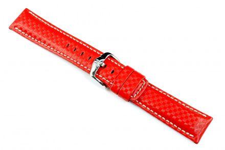 Czerwony pasek skórzany 22 mm HIRSCH Carbon 02592020-2-22 (L)