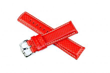 Czerwony pasek skórzany 24 mm HIRSCH Carbon 02592020-2-24 (L)