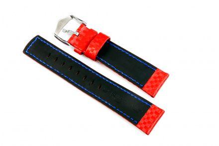 Czerwony pa skórzany 24 mm HIRSCH Carbon 02592020-2-24 (L)