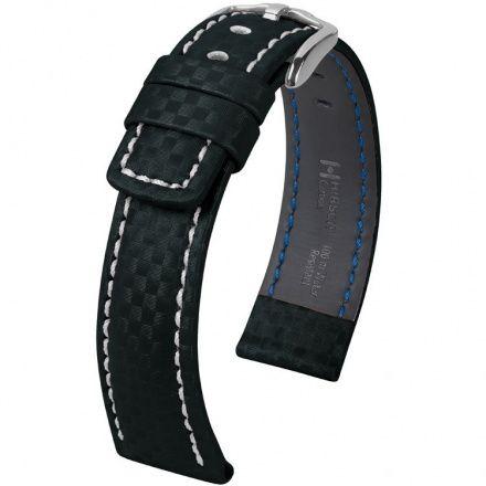 Czarny pasek skórzany 22 mm HIRSCH Carbon 02592050-2-22 (L)
