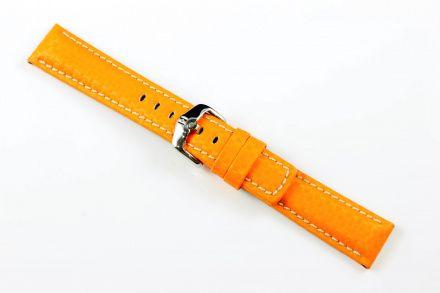 Pomarańczowy pasek skórzany 20 mm HIRSCH Carbon 02592076-2-20 (L)