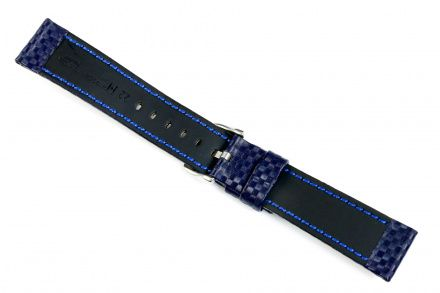 Niebieski pasek skórzany 20 mm HIRSCH Carbon 02592080-2-20 (L)