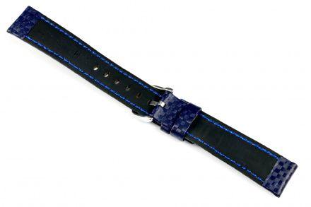 Niebieski pasek skórzany 22 mm HIRSCH Carbon 02592080-2-22 (L)
