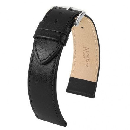 Czarny pasek skórzany 18 mm HIRSCH Osiris 03475050-2-18 (L)