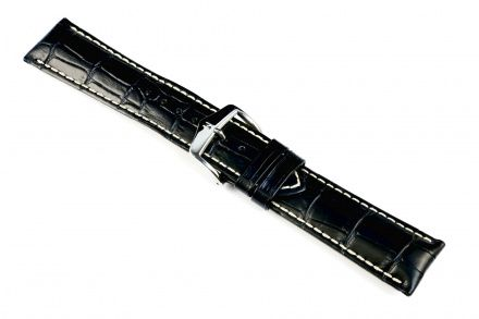 Czarny pasek skór 24 mm HIRSCH Modena 10302850-2-24 (L)