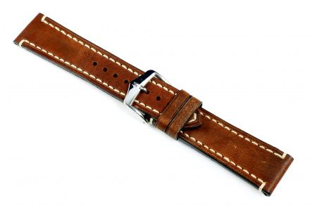 Brązowy pasek skórzany 24 mm HIRSCH Liberty 10900210-2-24 (L)