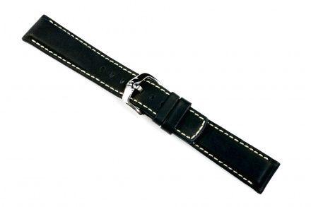 Czarny pasek skórzany 20 mm HIRSCH Mariner 14502150-2-20 (L)