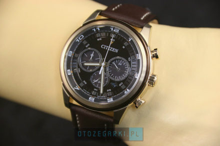 Citizen CA4037-01W Zegarek Męski na pasku Eco Drive Citizen Chrono