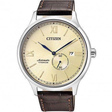 Citizen NJ0090-13P Zegarek Męski na pasku Titanium Automatic