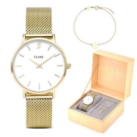 Zegarek Cluse Minuit Heart CLG012 + Bransoletka Komplet Gift Box