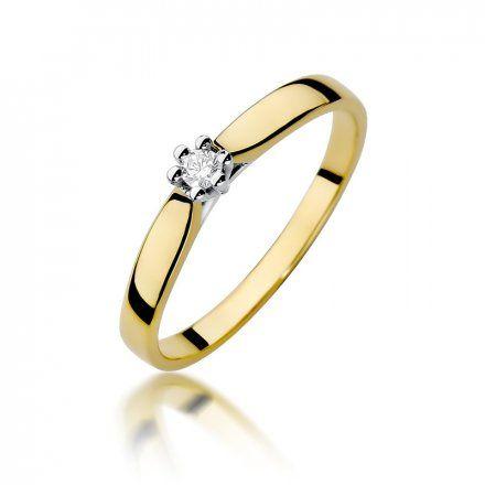 Biżuteria SAXO 14K Pierścionek z brylantem 0,04ct W-222 Złoty