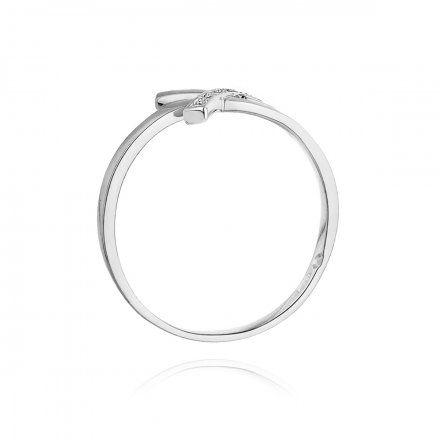 Biżuteria SAXO 14K Pierścionek z brylantami 0,02ct W-179 Białe Złoto