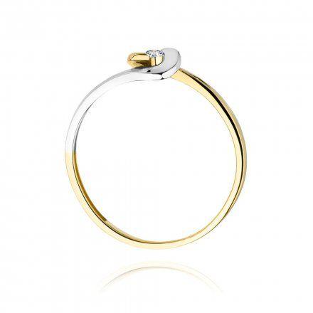 Biżuteria SAXO 14K Pierścionek z brylantem 0,04ct W-195 Złoty