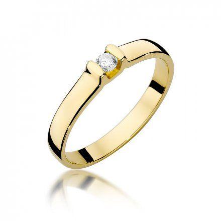 Biżuteria SAXO 14K Pierścionek z brylantem 0,09ct W-334 Złoty