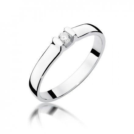 Biżuteria SAXO 14K Pierścionek z brylantem 0,09ct W-334 Białe Złoto