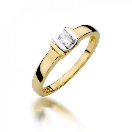 Biżuteria SAXO 14K Pierścionek z brylantem 0,10ct W-343 Złoty
