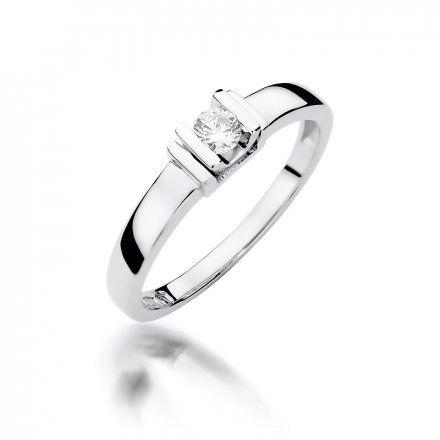 Biżuteria SAXO 14K Pierścionek z brylantem 0,10ct W-343 Białe Złoto