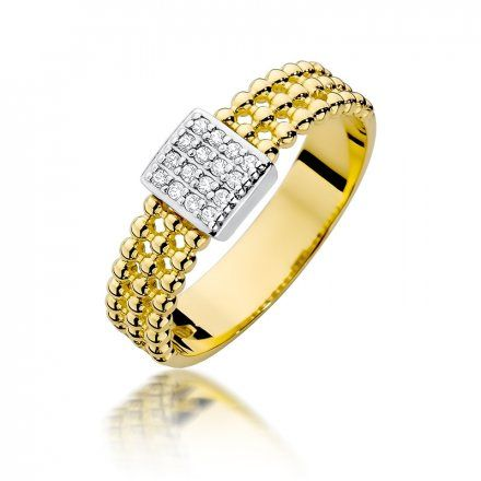Biżuteria SAXO 14K Pierścionek z brylantami 0,08ct W-353 Złoty