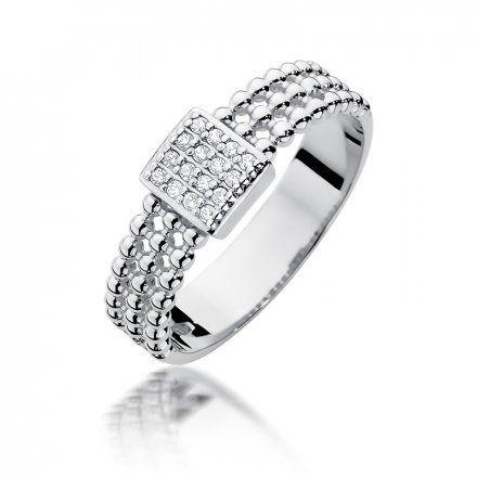 Biżuteria SAXO 14K Pierścionek z brylantami 0,08ct W-353 Białe Złoto