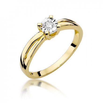 Biżuteria SAXO 14K Pierścionek z brylantem 0,08ct W-360 Złoty