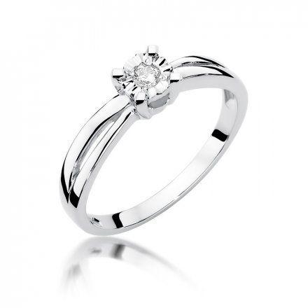 Biżuteria SAXO 14K Pierścionek z brylantem 0,08ct W-360 Białe Złoto