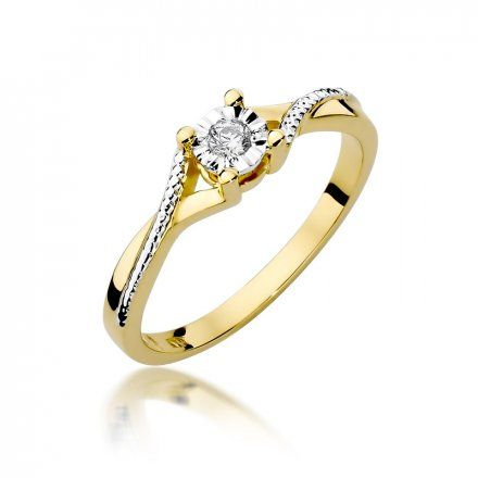 Biżuteria SAXO 14K Pierścionek z brylantem 0,08ct W-361 Złoty