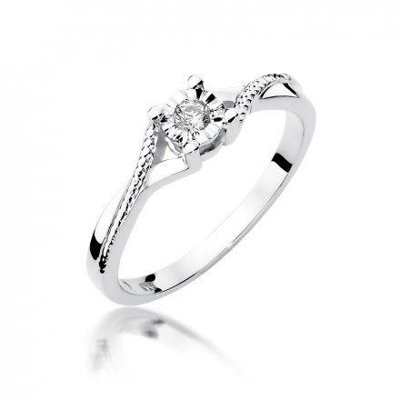 Biżuteria SAXO 14K Pierścionek z brylantem 0,08ct W-361 Białe Złoto