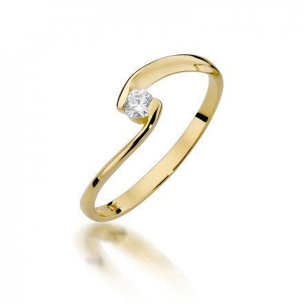 Biżuteria SAXO 14K Pierścionek z brylantem 0,09ct W-366 Złoty