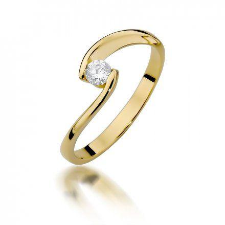 Biżuteria SAXO 14K Pierścionek z brylantem 0,15ct W-366 Złoty