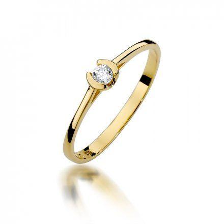 Biżuteria SAXO 14K Pierścionek z brylantem 0,09ct W-370 Złoty