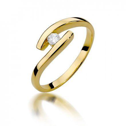 Biżuteria SAXO 14K Pierścionek z brylantem 0,09ct W-373 Złoty