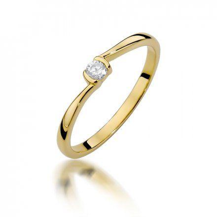 Biżuteria SAXO 14K Pierścionek z brylantem 0,09ct W-380 Złoty