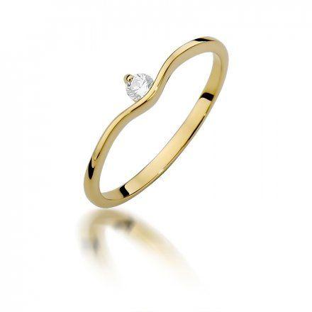 Biżuteria SAXO 14K Pierścionek z brylantem 0,09ct W-385 Złoty