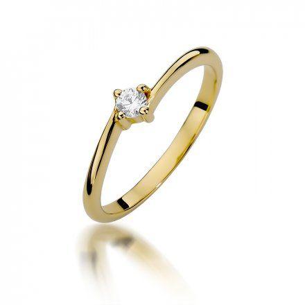 Biżuteria SAXO 14K Pierścionek z brylantem 0,09ct W-395 Złoty