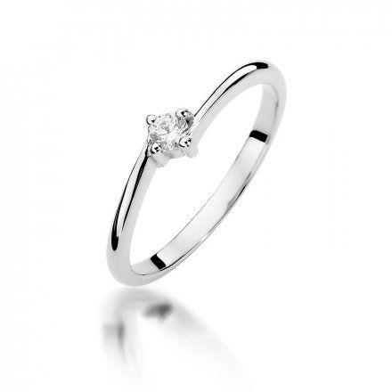 Biżuteria SAXO 14K Pierścionek z brylantem 0,09ct W-395 Białe Złoto