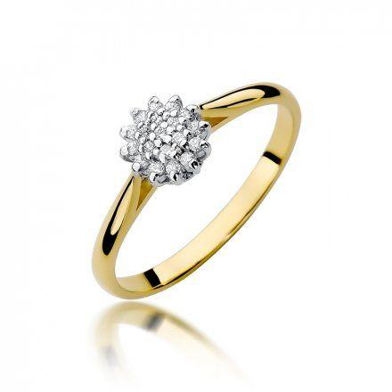 Biżuteria SAXO 14K Pierścionek z brylantami 0,10ct W-401 Złoty