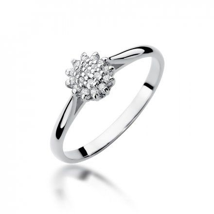 Biżuteria SAXO 14K Pierścionek z brylantami 0,10ct W-401 Białe Złoto