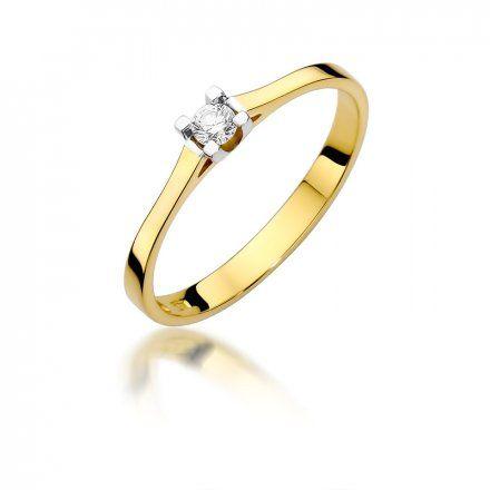 Biżuteria SAXO 14K Pierścionek z brylantem 0,09ct W-407 Złoty