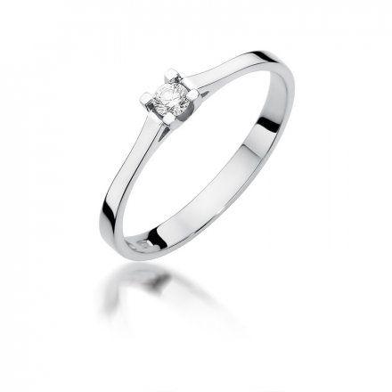 Biżuteria SAXO 14K Pierścionek z brylantem 0,09ct W-407 Białe Złoto