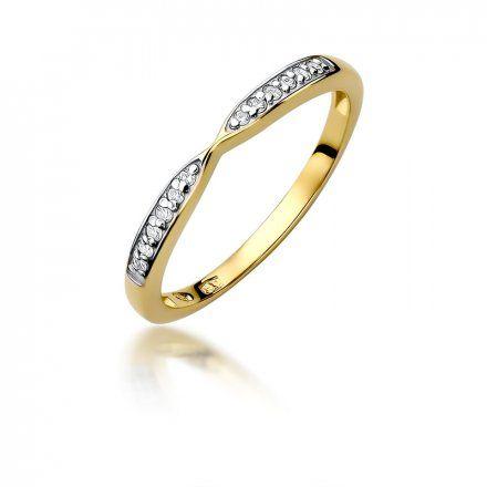 Biżuteria SAXO 14K Pierścionek z brylantami 0,10ct W-425 Złoty