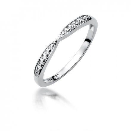 Biżuteria SAXO 14K Pierścionek z brylantami 0,10ct W-425 Białe Złoto