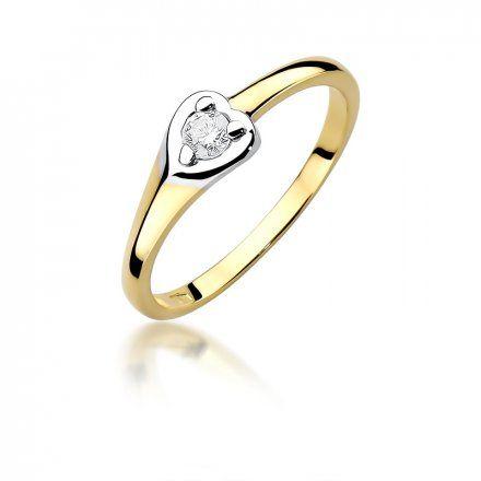 Biżuteria SAXO 14K Pierścionek z brylantem 0,10ct W-430 Złoty
